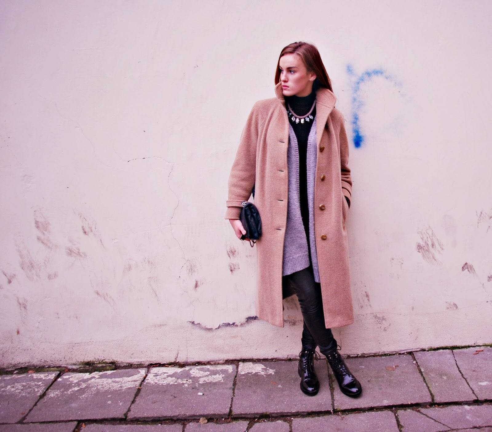 f4cd5ac26986 coat : thrifted | scarf : h&m | cardigan : h&m | pants : h&m | shoes : zara  | turtleneck : zara | clutch : vinted.lt | necklace : illusion.lt | watch :  ...